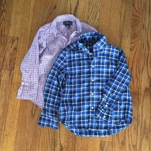 Lot of 2 boys Ralph Lauren plaid button downs.